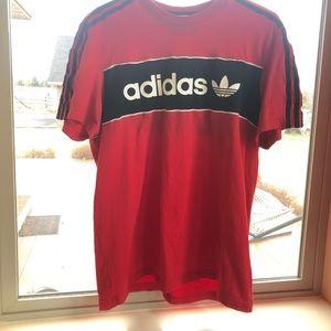Mens adidas red and black shirt